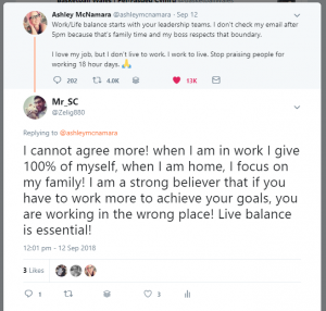 Work/Life balance starts with your leadership teams. I don't check my email after 5pm because that's family time and my boss respects that boundary. I love my job, but I don't live to work. I work to live. Stop praising people for working 18 hour days.