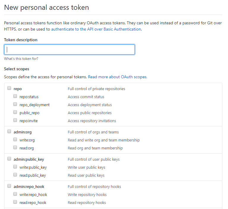 "Screenshot of the ""New personal access token"" page form github"