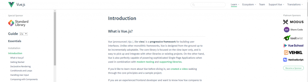 Vue js official documentation screenshot