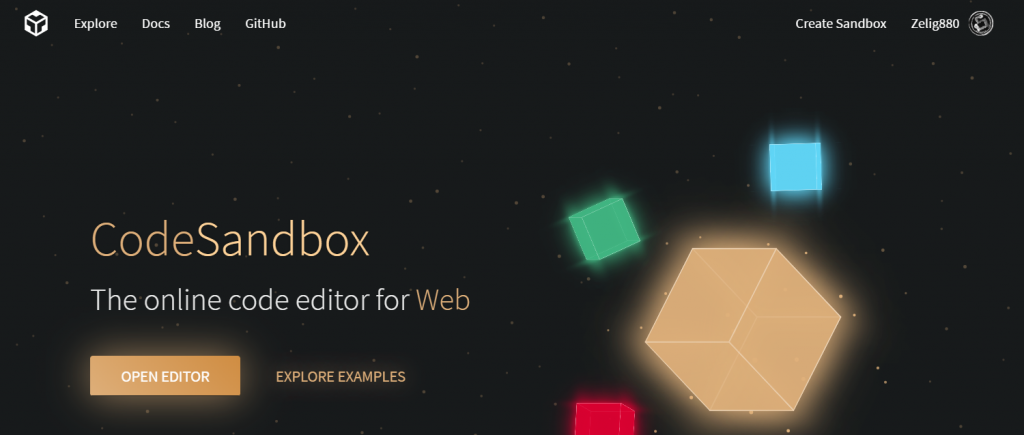 codesandbox homepage screenshot
