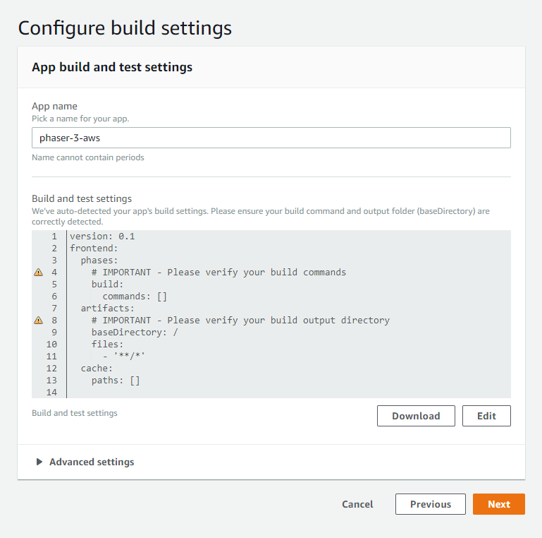 Amplify Configure build settings view