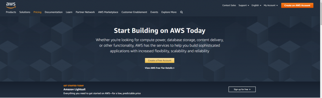 Amazon AWS homepage